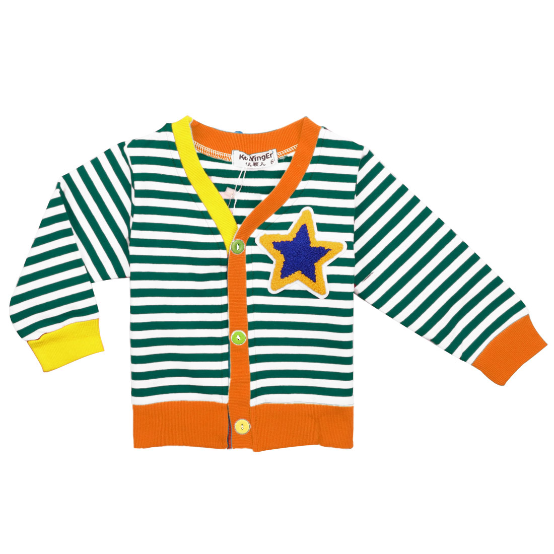 Single-Breasted Front Green White Striped Long Sleeve Casual Cardigan for Kids 5