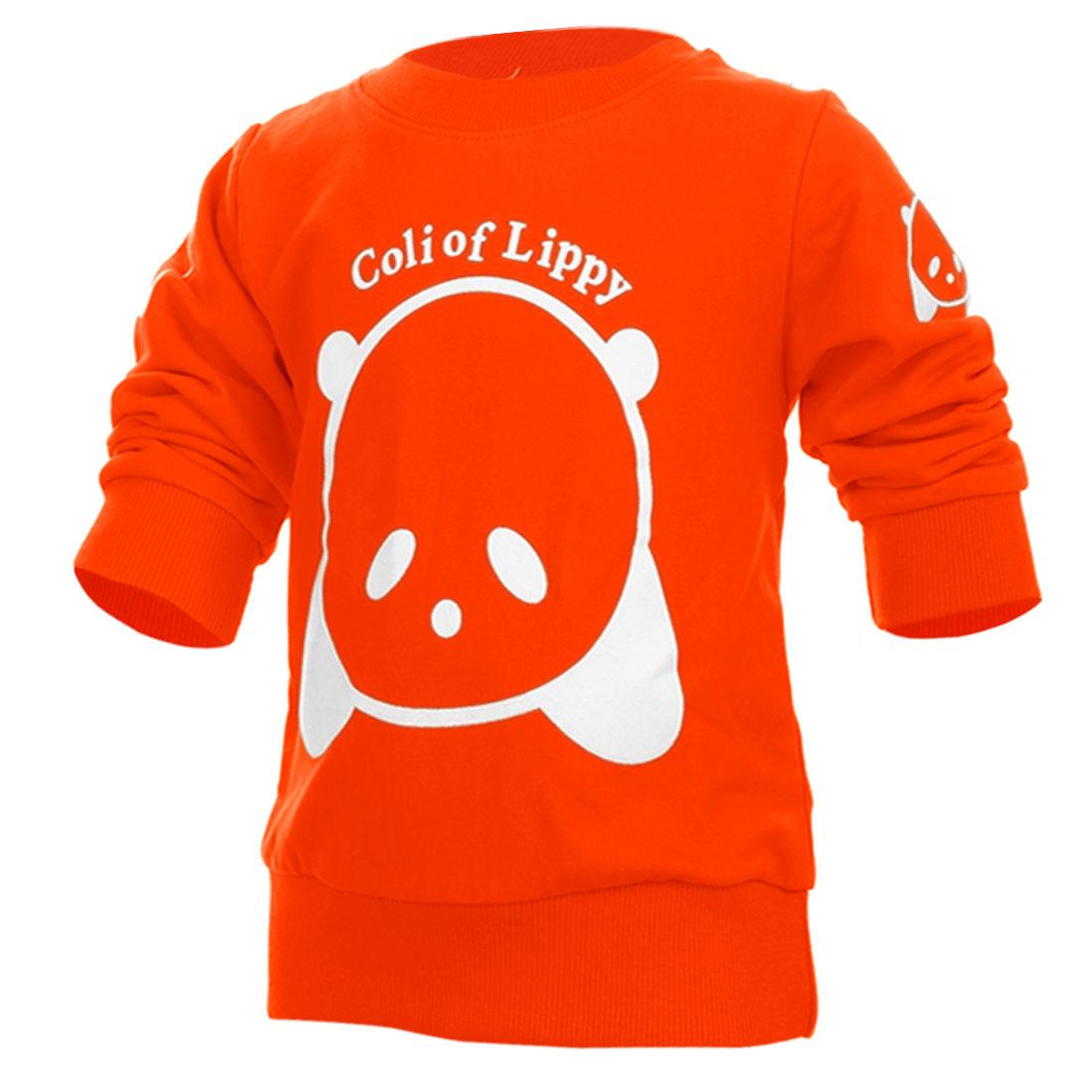 Kids Round Neck Cartoon Bear Pattern Sweatshirt Orange 12 Month