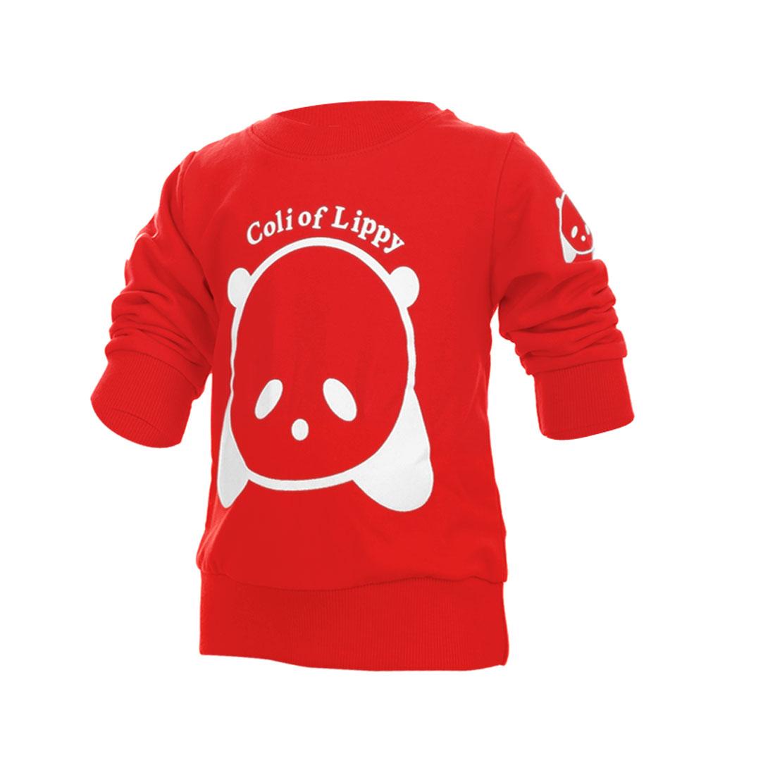Kids Pullover Cartoon Bear Prints Sweatshirt Red 4T