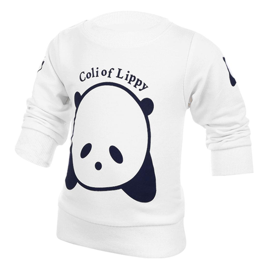 Boys Girls Long Sleeve Bear Pattern Sweatshirt White 4T