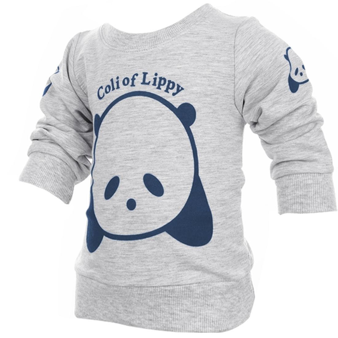 Kids Fashion NEW Round Neck Sweatshirt Light Gray 4T