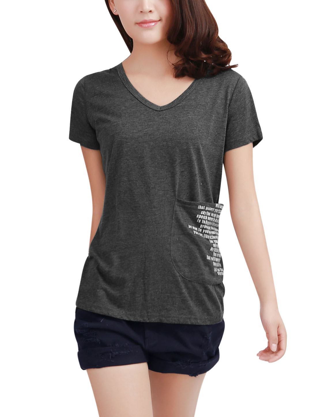 Woman Chic V Neck Front Pockets Letters Pattern Dark Gray T-Shirt M