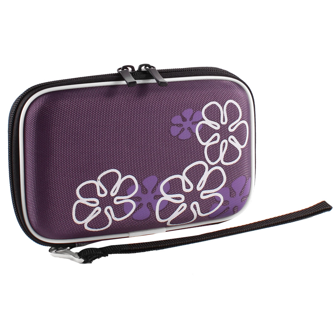 "Purple EVA Hard Drive Disk Carrying Case Cover Pouch Zipper Closure for 2.5"" HDD"