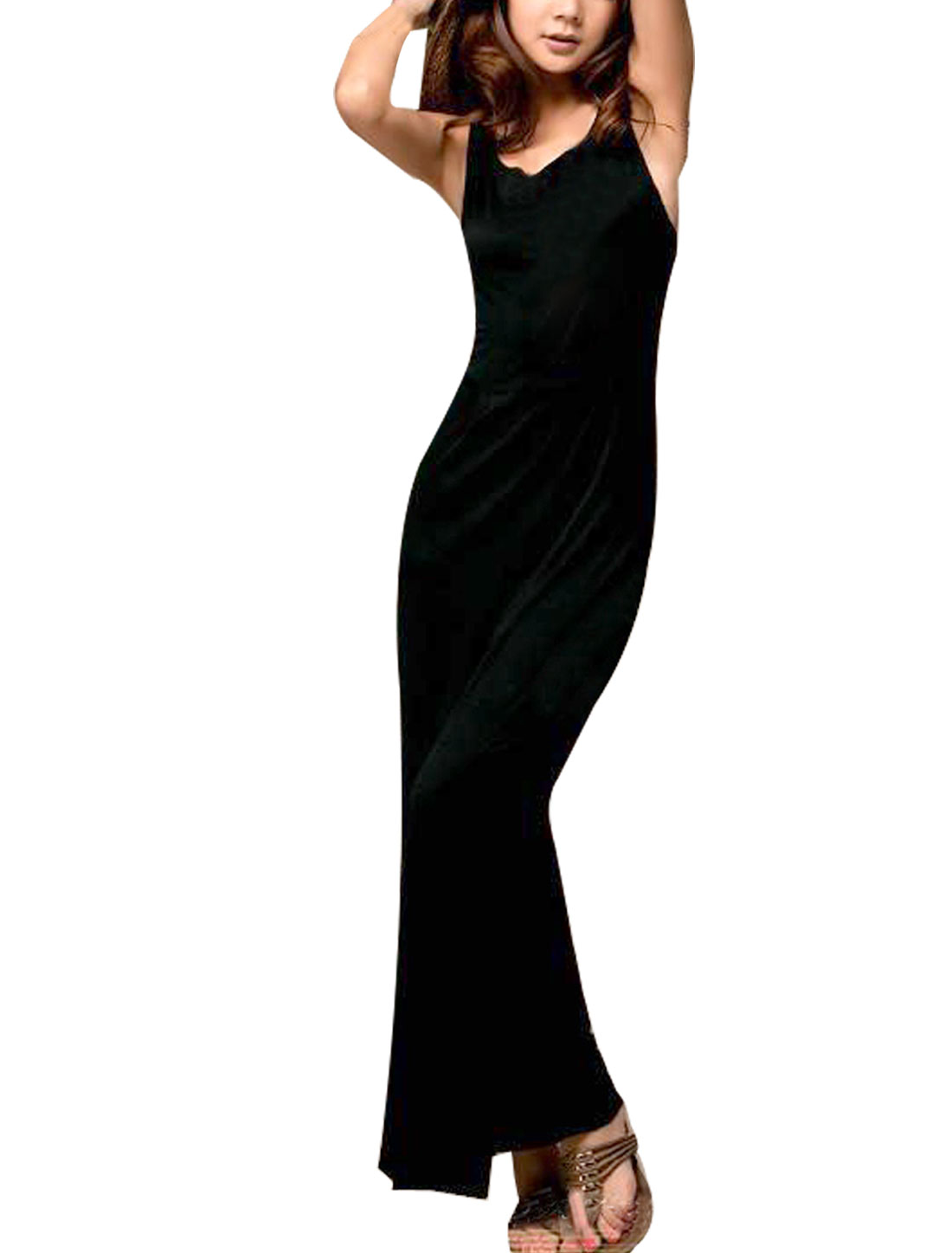 Ladies Scoop Neck Deep V-Back Sleeveless Maxi Dress Black XS