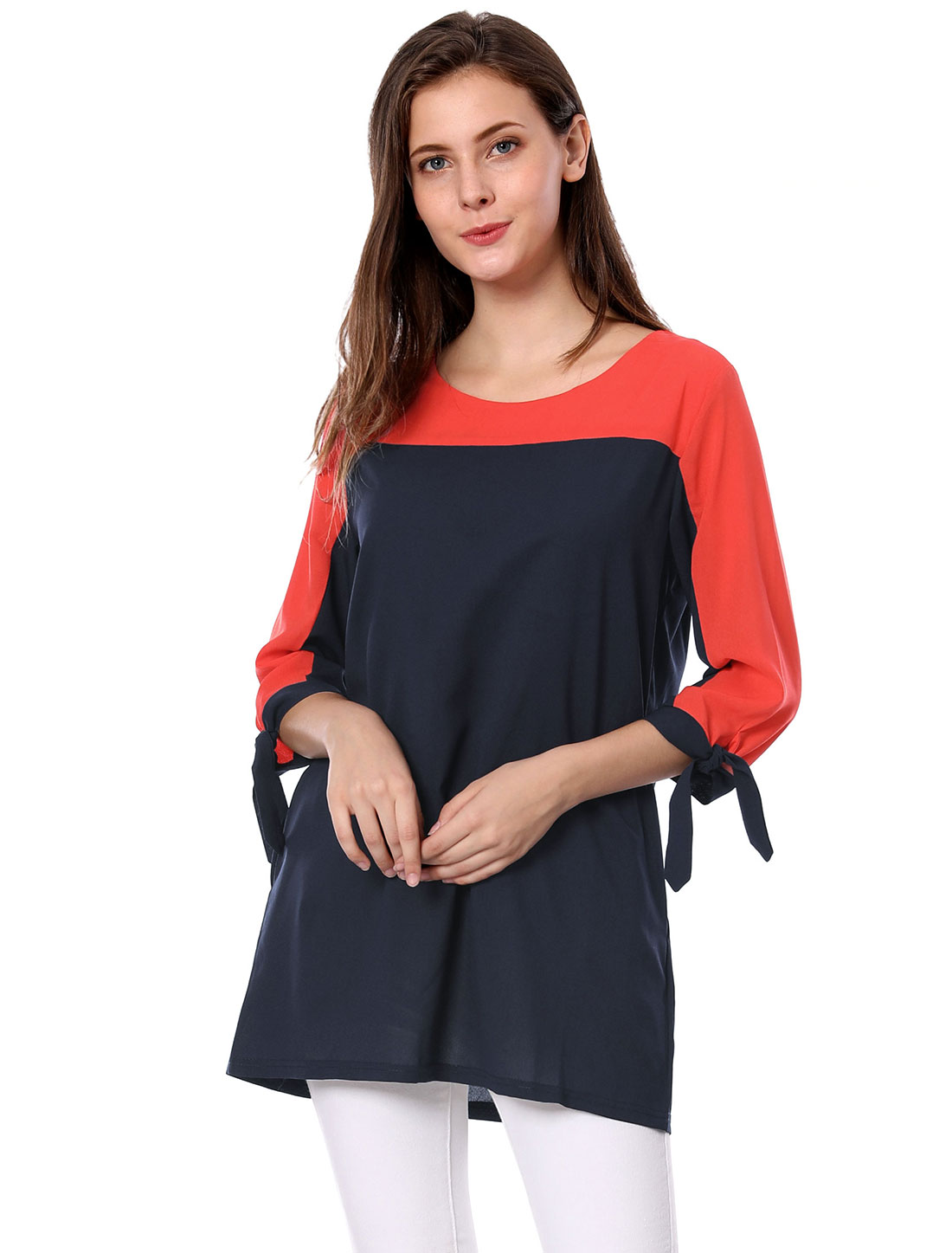 Woman Scoop Neck 3/4 Sleeve Color Blocking Oxford-Blue Tunic Top XS
