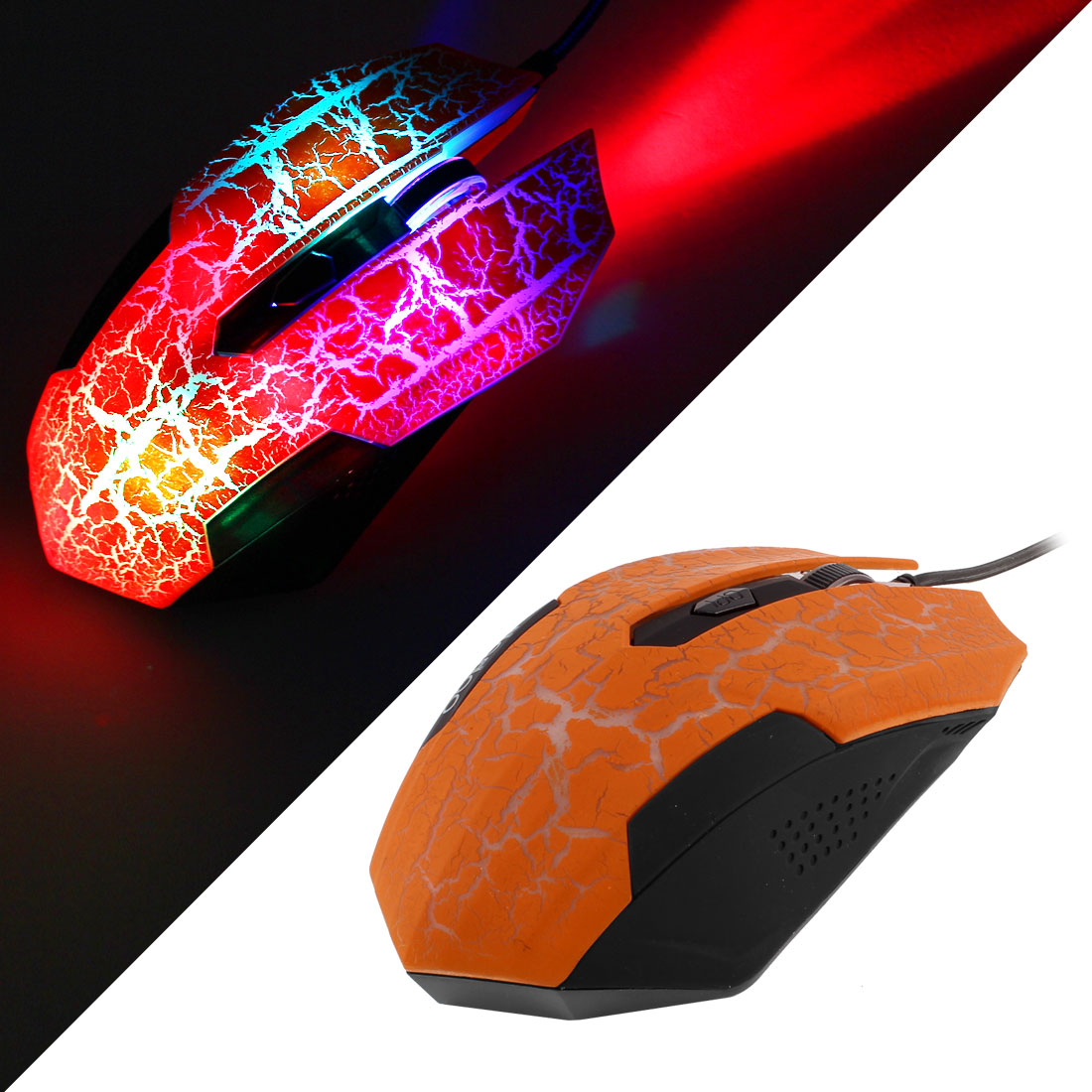 Orange Crack Pattern 3200DPI USB Optical Gaming Game Mouse Mice LED Wired for PC
