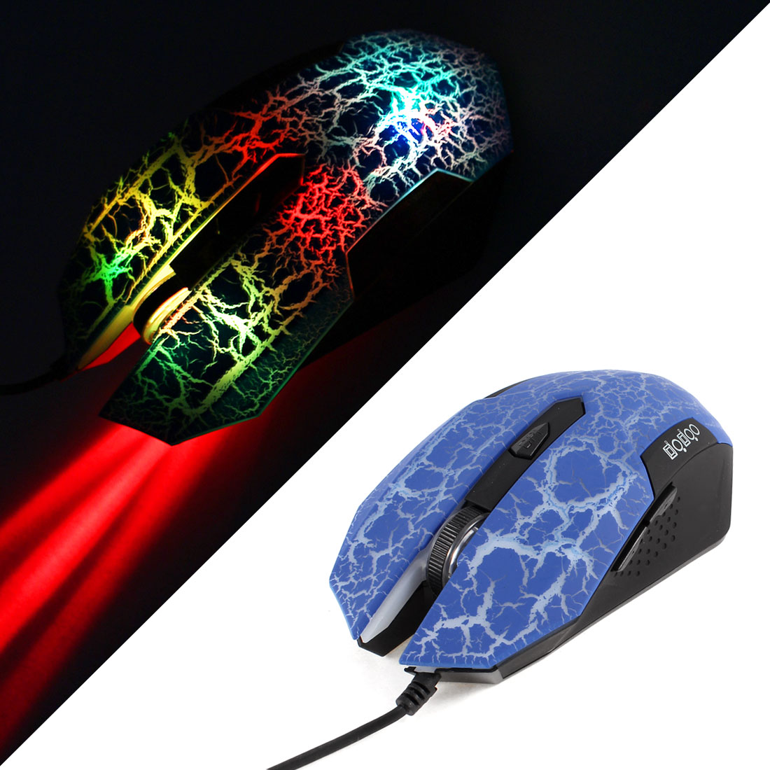 Blue Crack Pattern 3200DPI USB Optical Gaming Game Mouse Mice LED Wired for PC