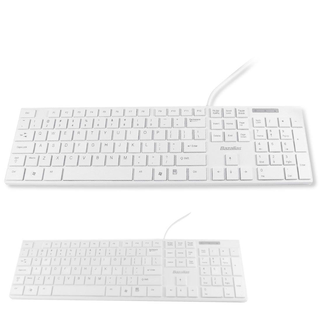 White 105 Keys Wired USB Optical Keyboard w Protective Film for PC Laptop