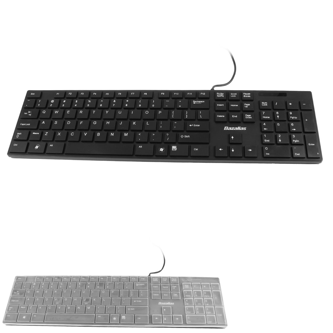 Black 105 Keys Wired USB Optical Keyboard w Protective Film for PC Laptop