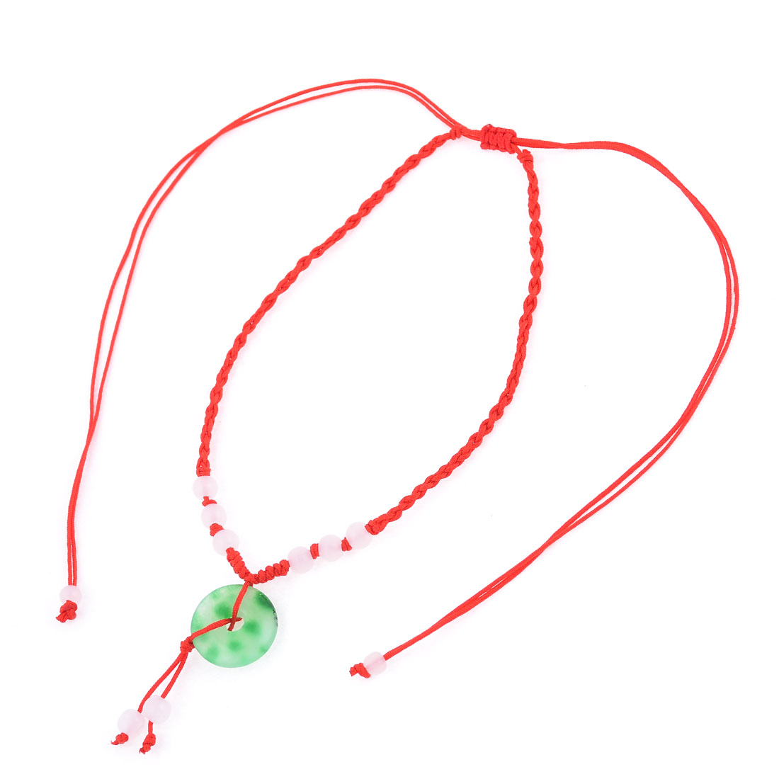 Red Pull String Closure Round Bowlder Handmade Braided Necklace Cord