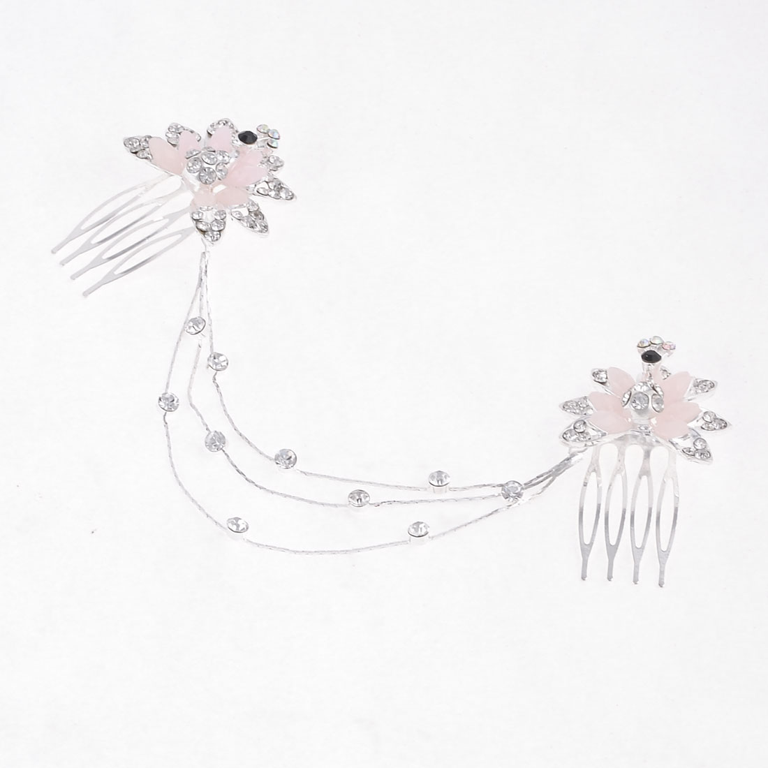 Women Bling Rhinestone Decor Metal Prong Hair Comb Clip Pink Silver Tone