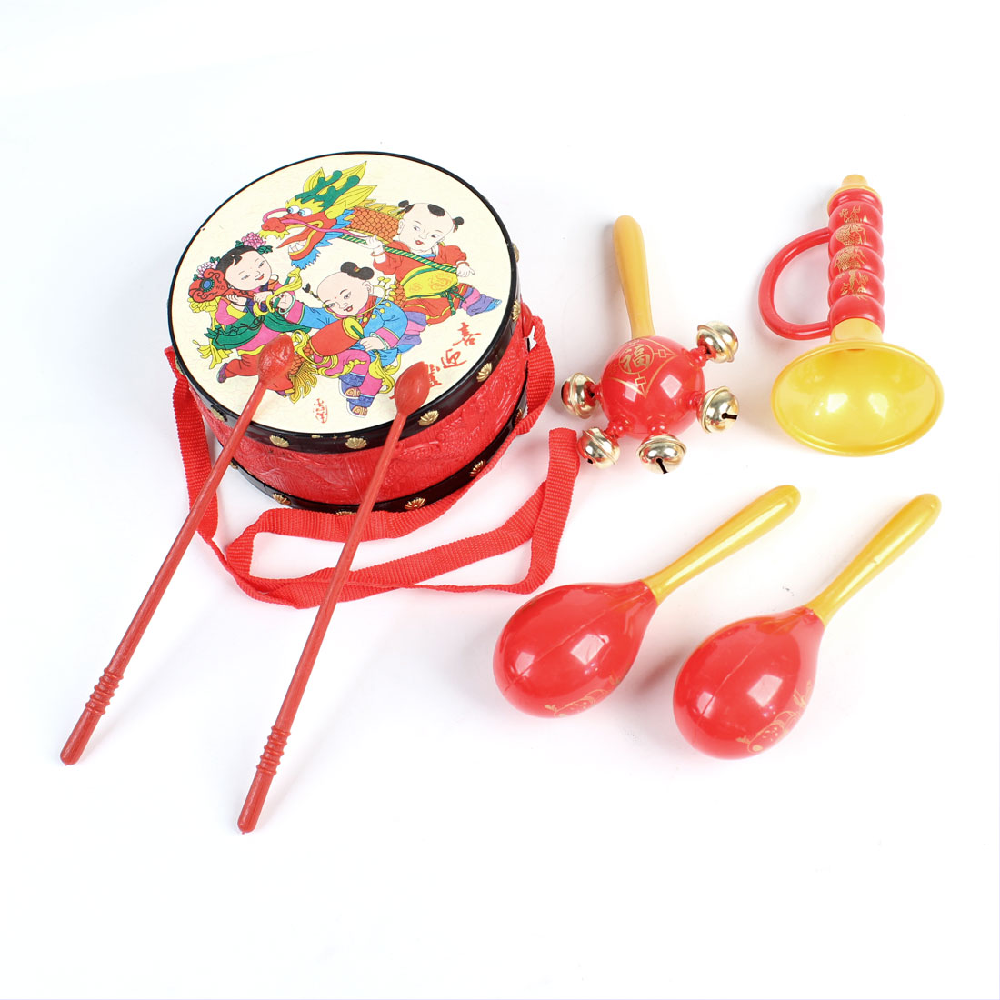 New Year Paintings Doll Pattern Chinese Traditional Tambourine Beat Trumpet Drumsticks Playing Toy