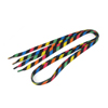 Lady Multicolor Stripe Pattern Sports Leisure Shoes Flat Shoe Laces Pair