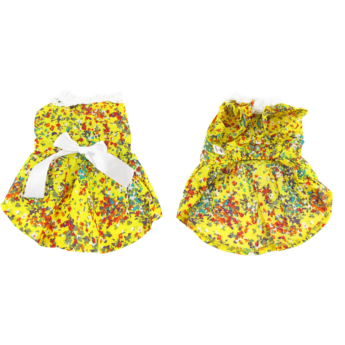 Yellow Flower Print Bowtie Accent Pet Doggie Puppy Dress Apparel Clothes Size M