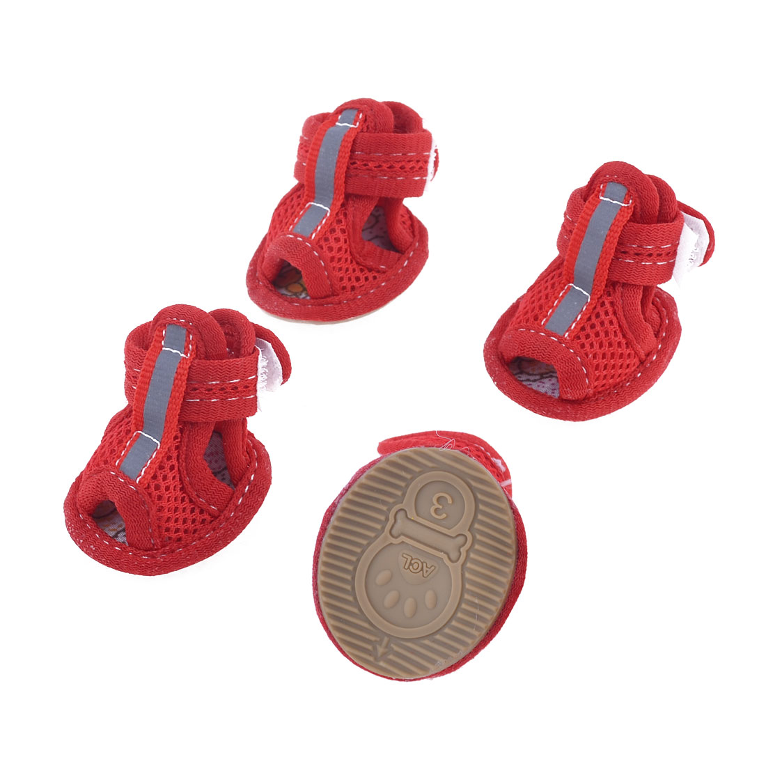 2 Pairs Rubber Sole Red Mesh Sandals Yorkie Chihuaha Dog Shoes Size S