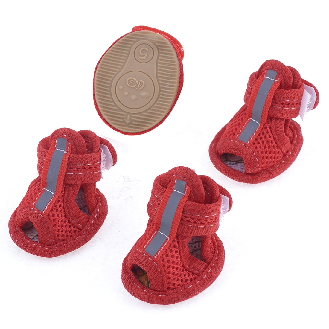 2 Pairs Rubber Sole Red Mesh Sandals Yorkie Chihuaha Dog Shoes Size L