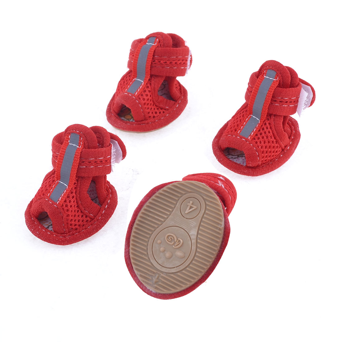 2 Pairs Rubber Sole Red Mesh Sandals Yorkie Chihuaha Dog Shoes Size M
