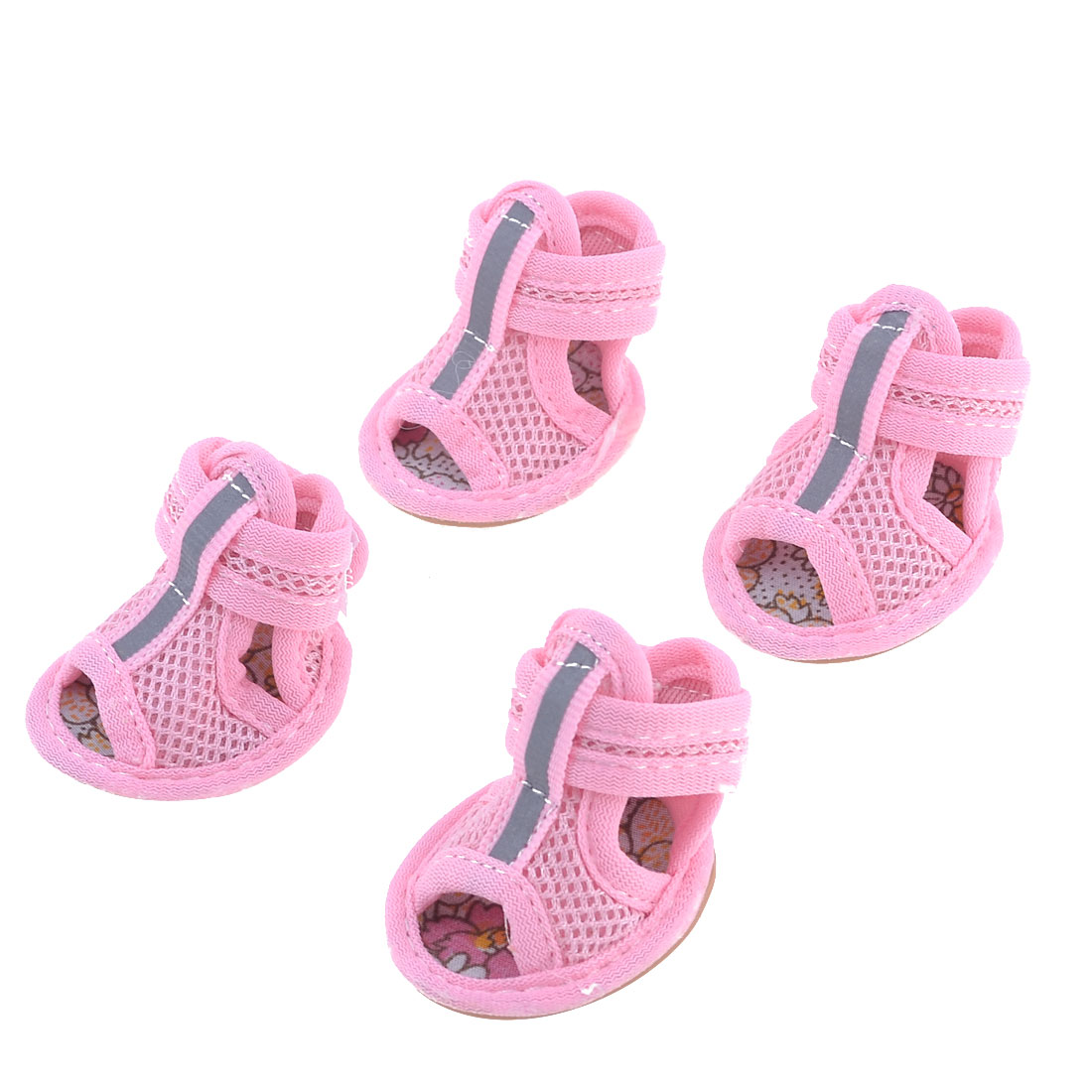 2 Pairs Pet Doggie Pomeranian Pink Mesh Vamp Sandals Shoes Size S