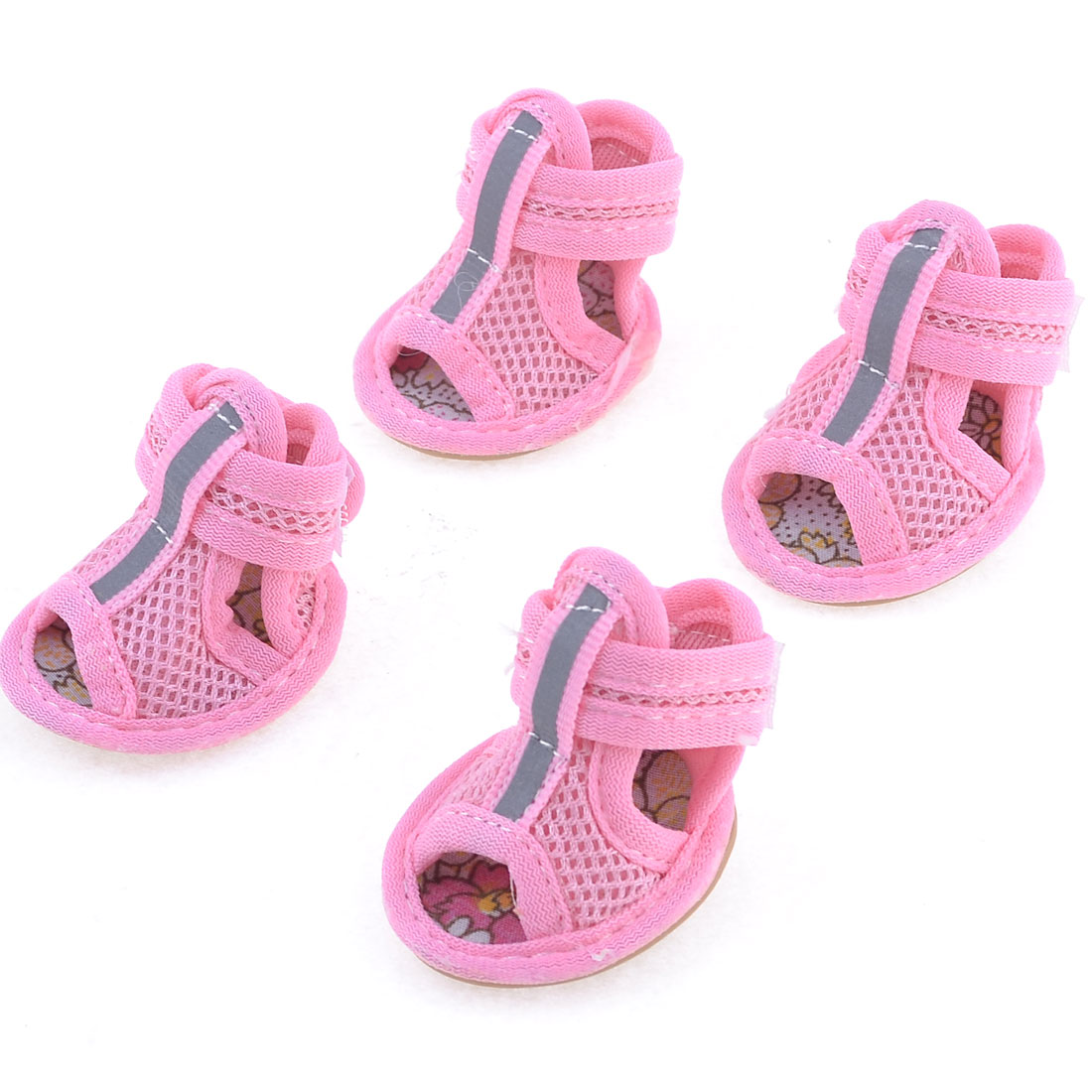 2 Pairs Rubber Sole Pink Mesh Sandals Yorkie Chihuaha Dog Shoes Size L