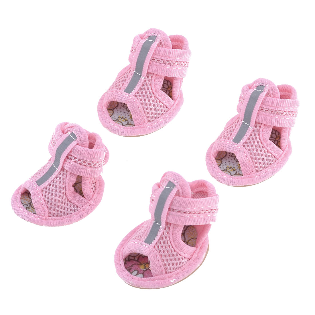2 Pairs Rubber Sole Pink Mesh Sandals Yorkie Chihuaha Dog Shoes Size M