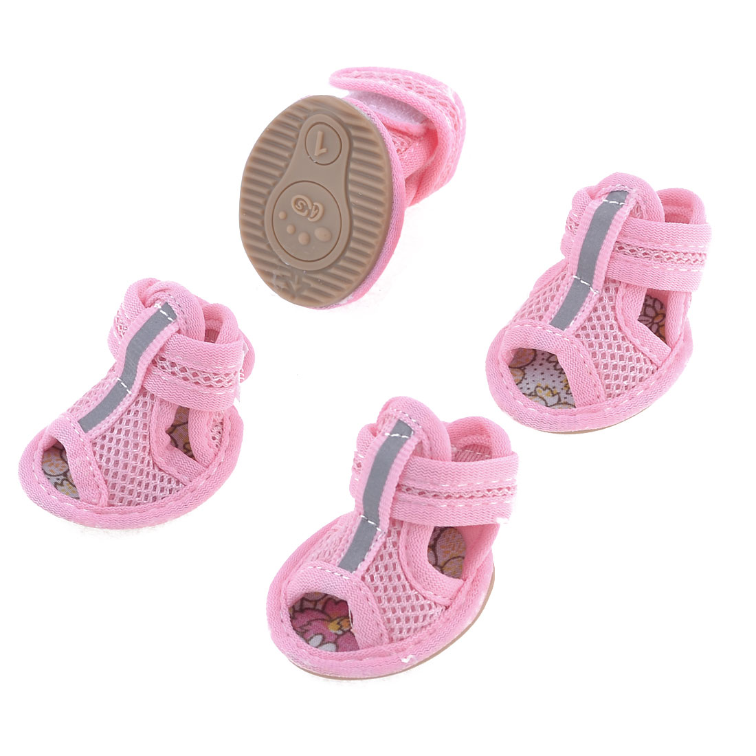 Dog Rubber Shoes Sole Mesh Yorkie Chihuaha Pink XXS 2 Pairs