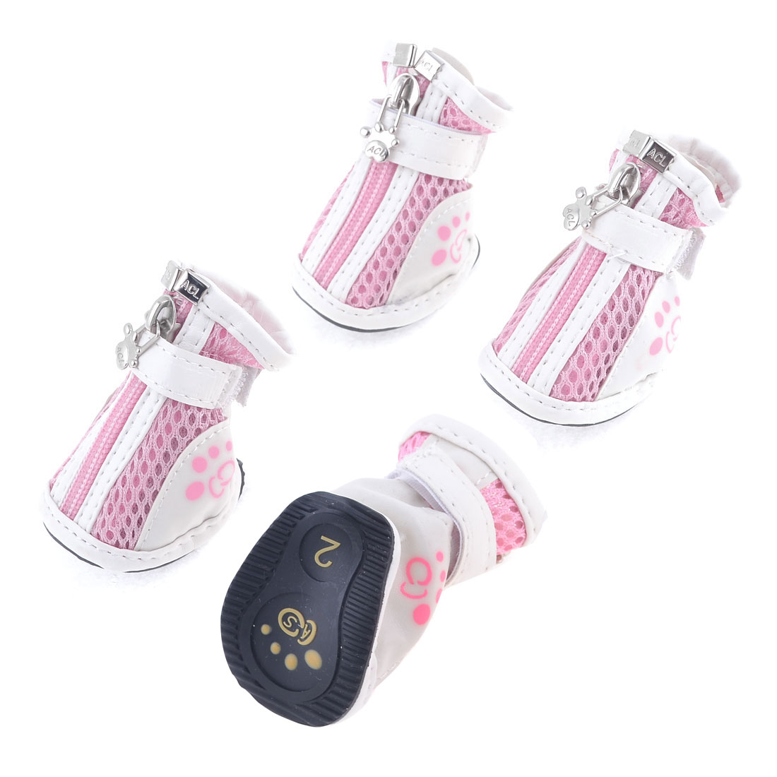 Dog Chihuaha Nonslip Rubber Sole Hook Loop Fastener Shoes White Pink 2 Pair XS
