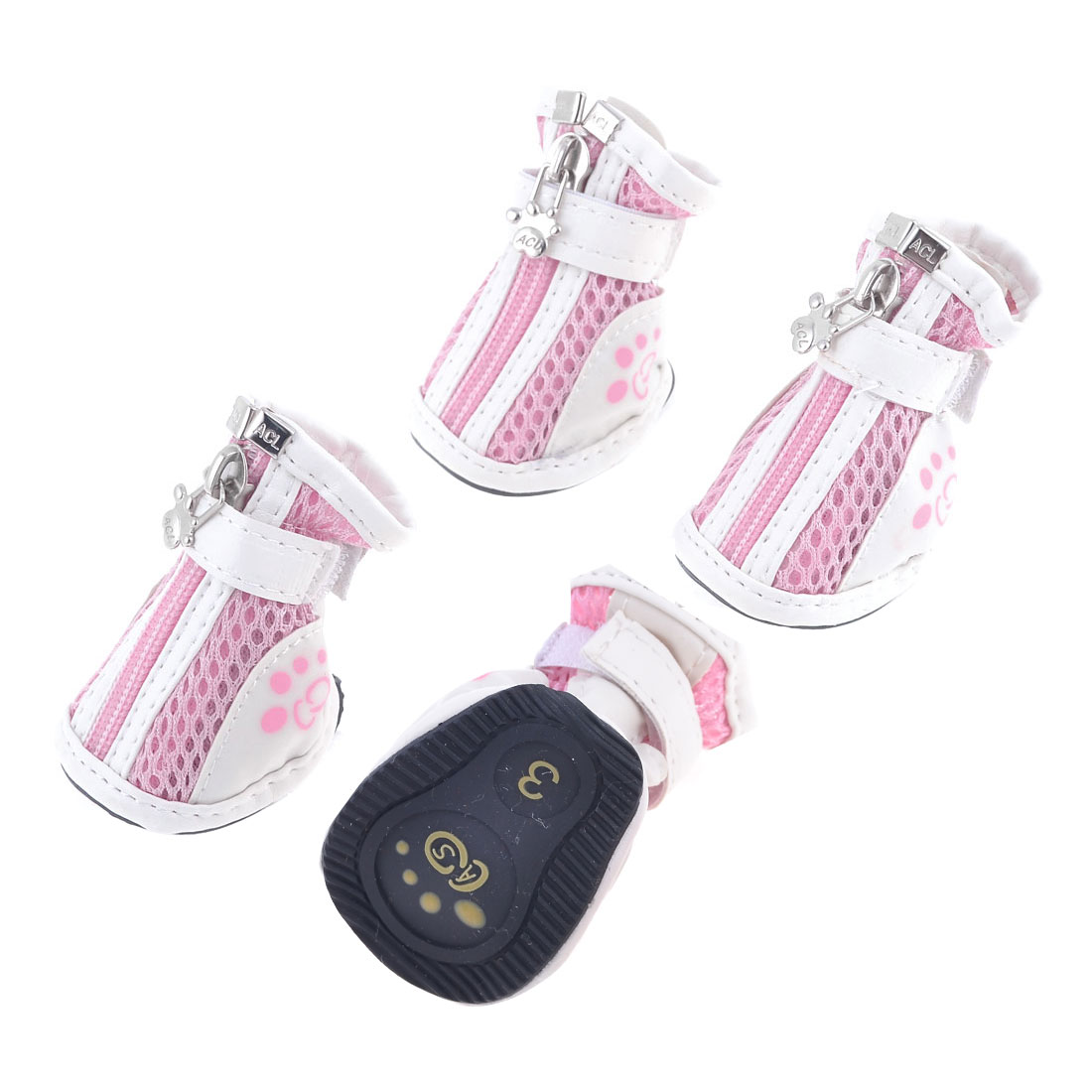 Pet Doggy Yorkie Chihuaha Zipper Closure White Pink Meshy Shoes 2 Pair S