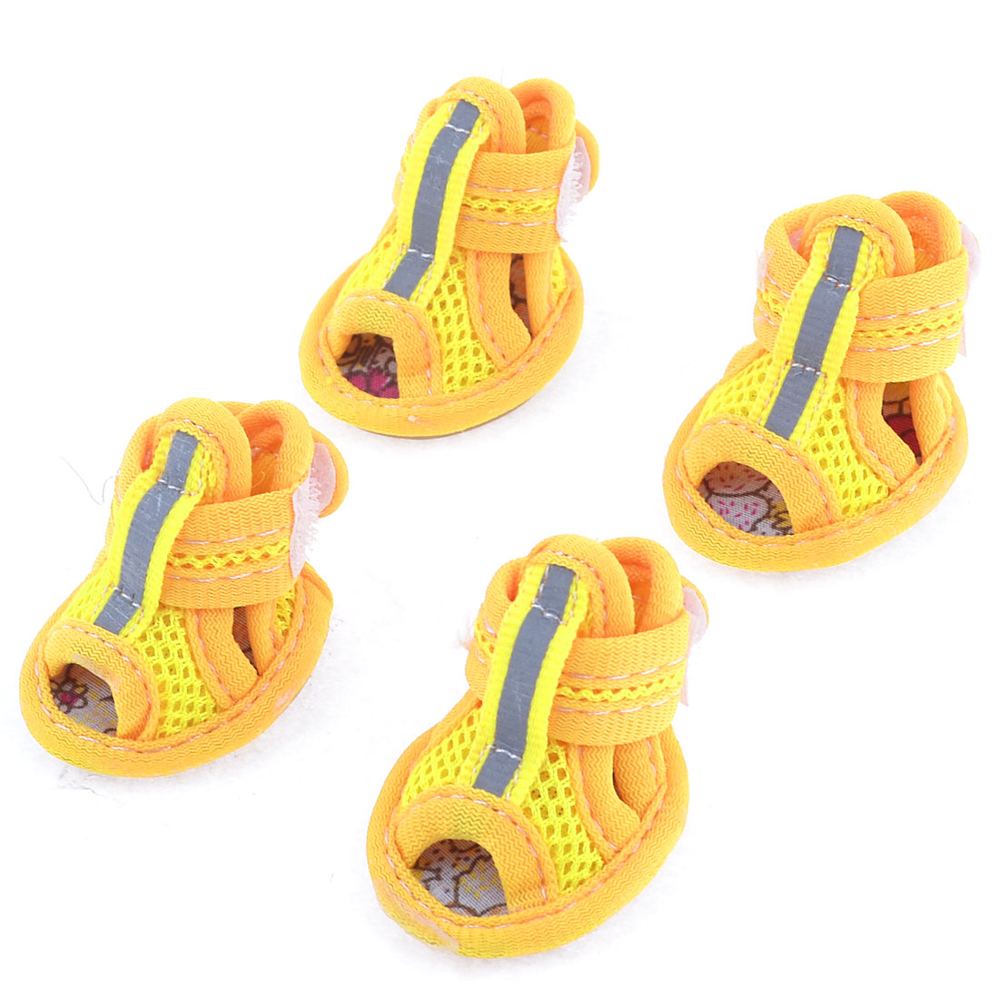2 Pairs Rubber Sole Yellow Mesh Sandals Yorkie Chihuaha Dog Shoes Size XXS