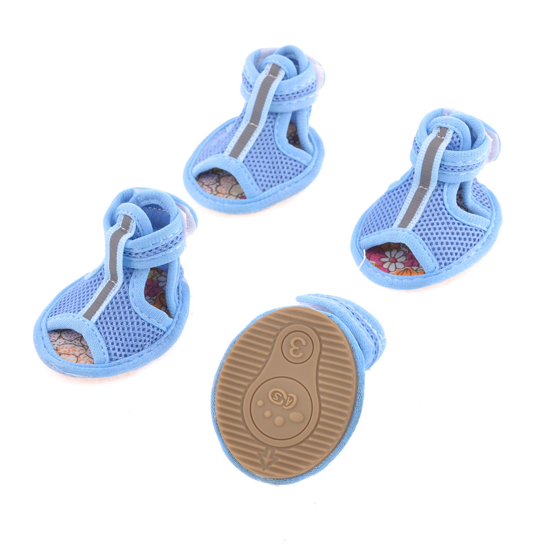 2 Pairs Rubber Sole Blue Mesh Sandals Yorkie Chihuaha Dog Shoes Size S