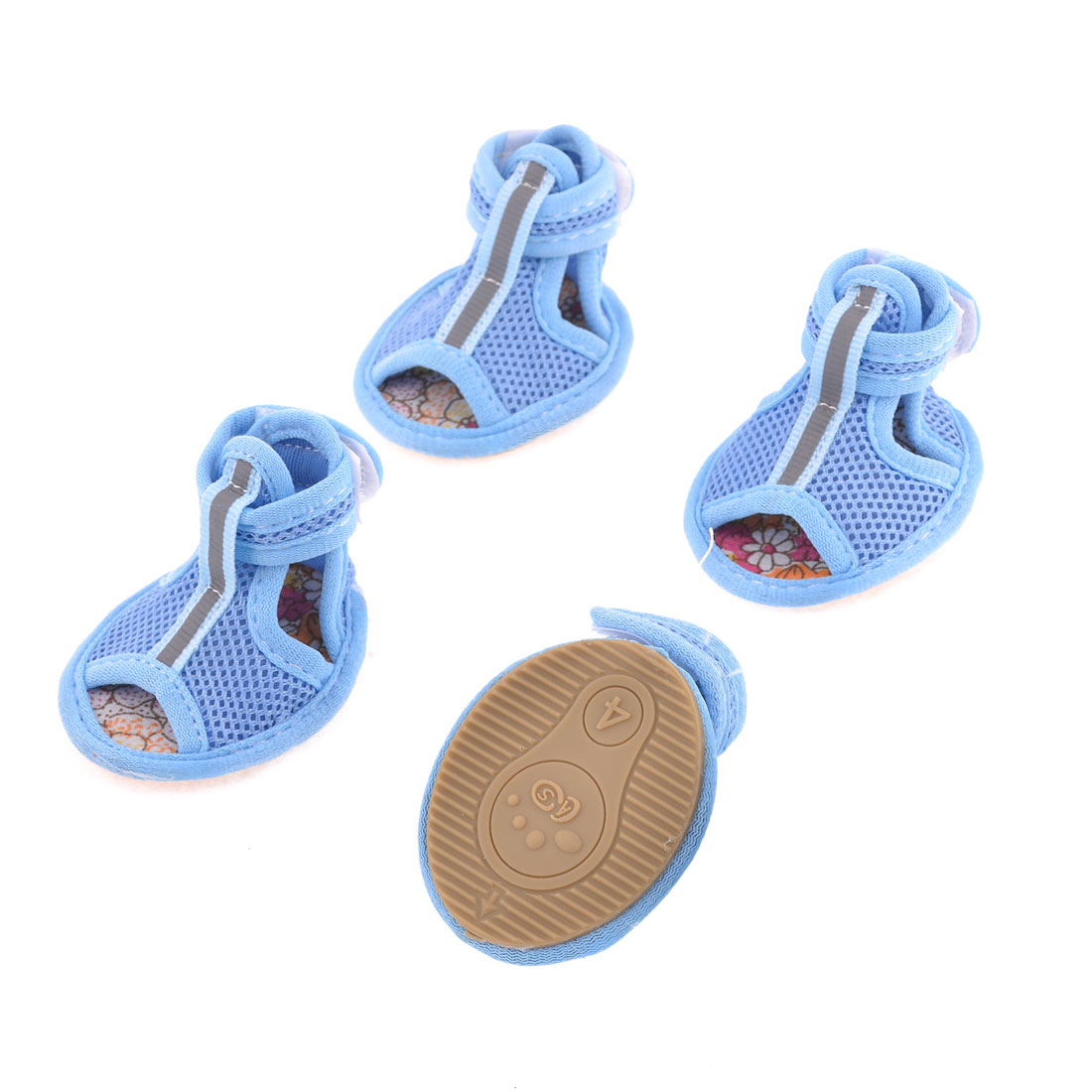 2 Pairs Pet Doggie Pomeranian Blue Mesh Vamp Sandals Shoes Size M