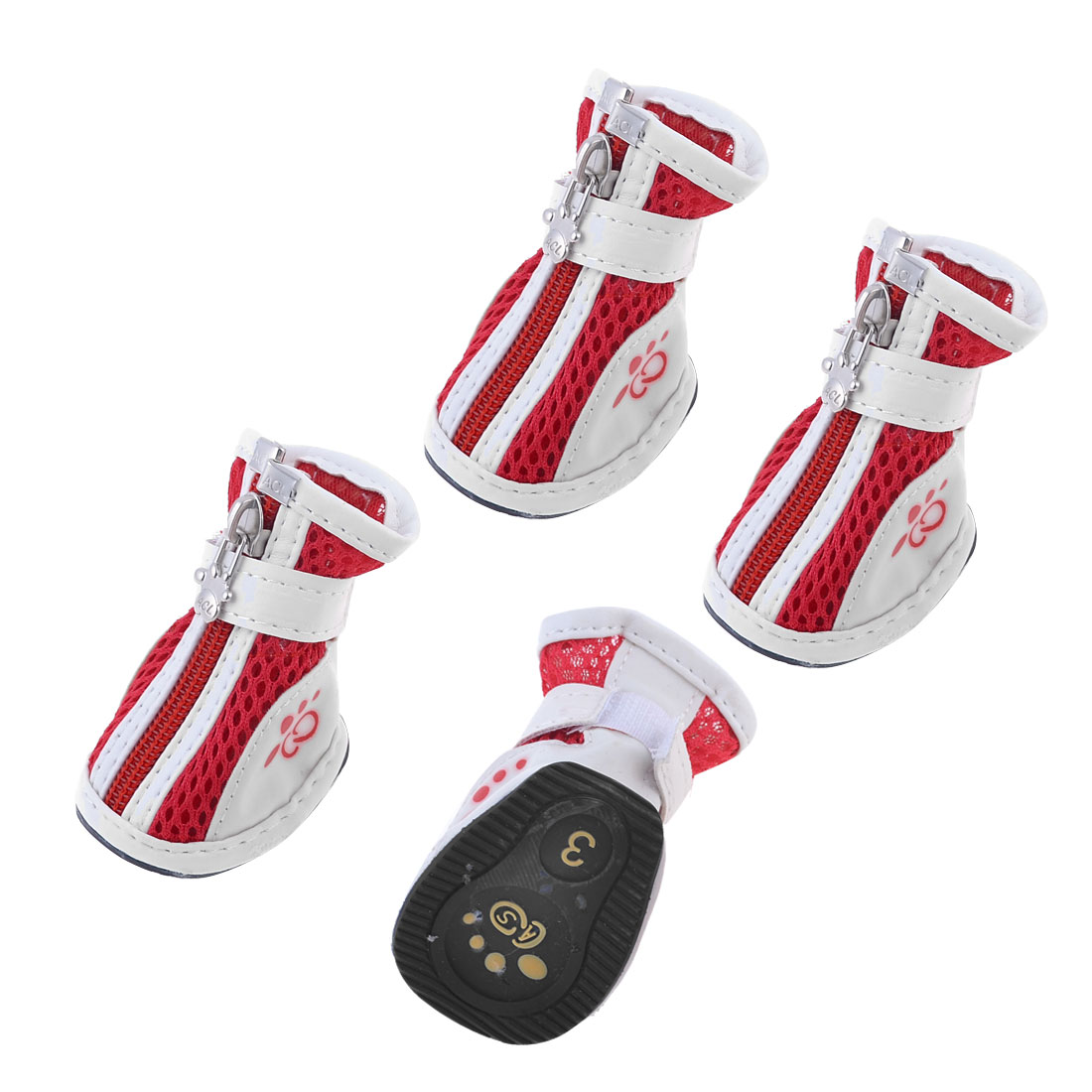 Doggy Chihuaha Nonslip Rubber Sole Hook Loop Fastener Shoes White Red 2 Pair S
