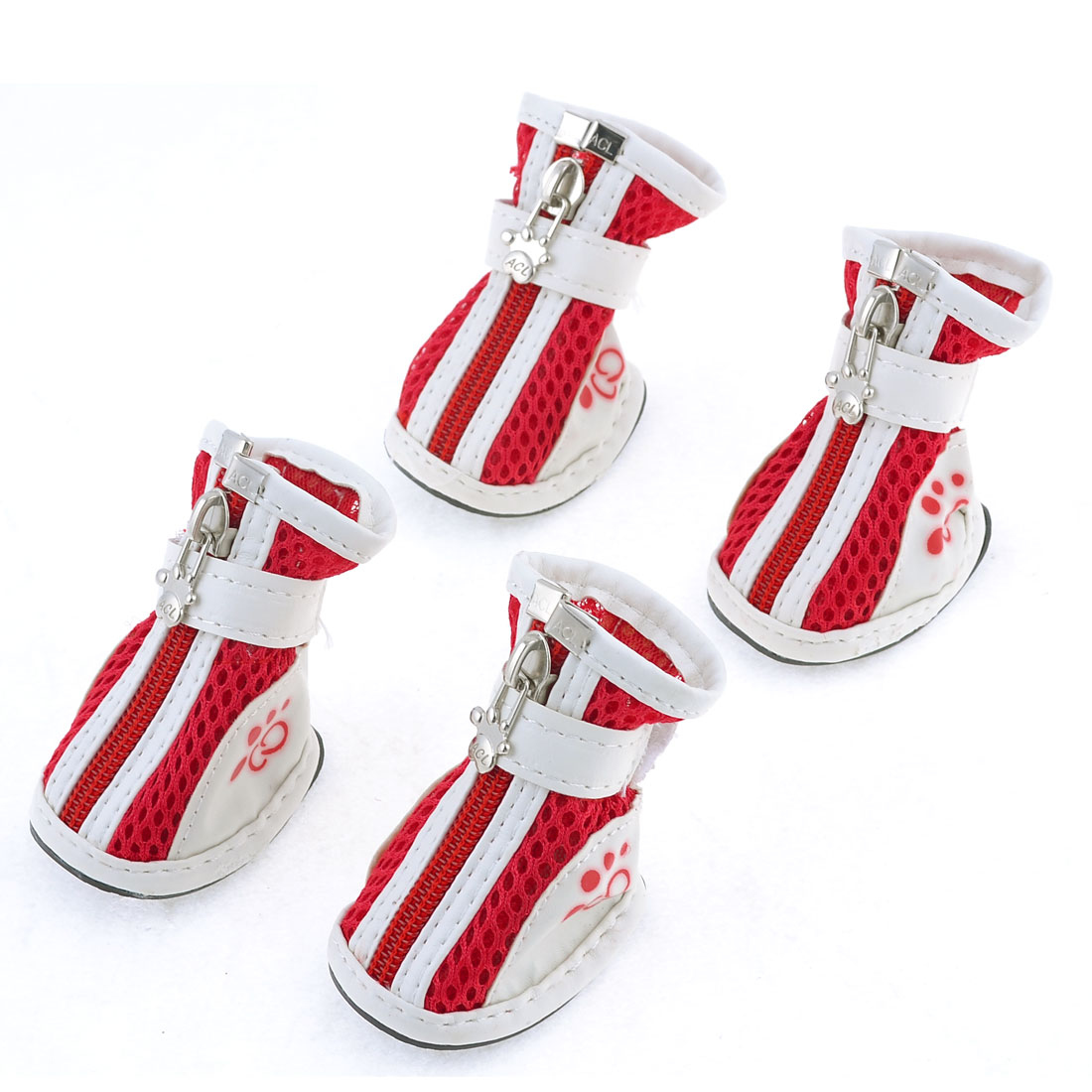 Pet Doggy Yorkie Chihuaha Zipper Closure White Red Meshy Shoes 2 Pair M