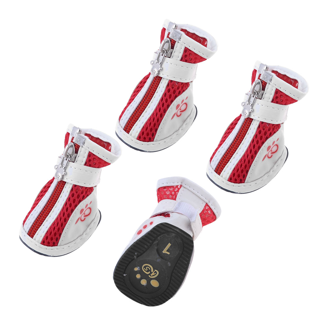 Pet Doggy Yorkie Chihuaha Zipper Closure White Red Meshy Shoes Boots Two Pair XXS