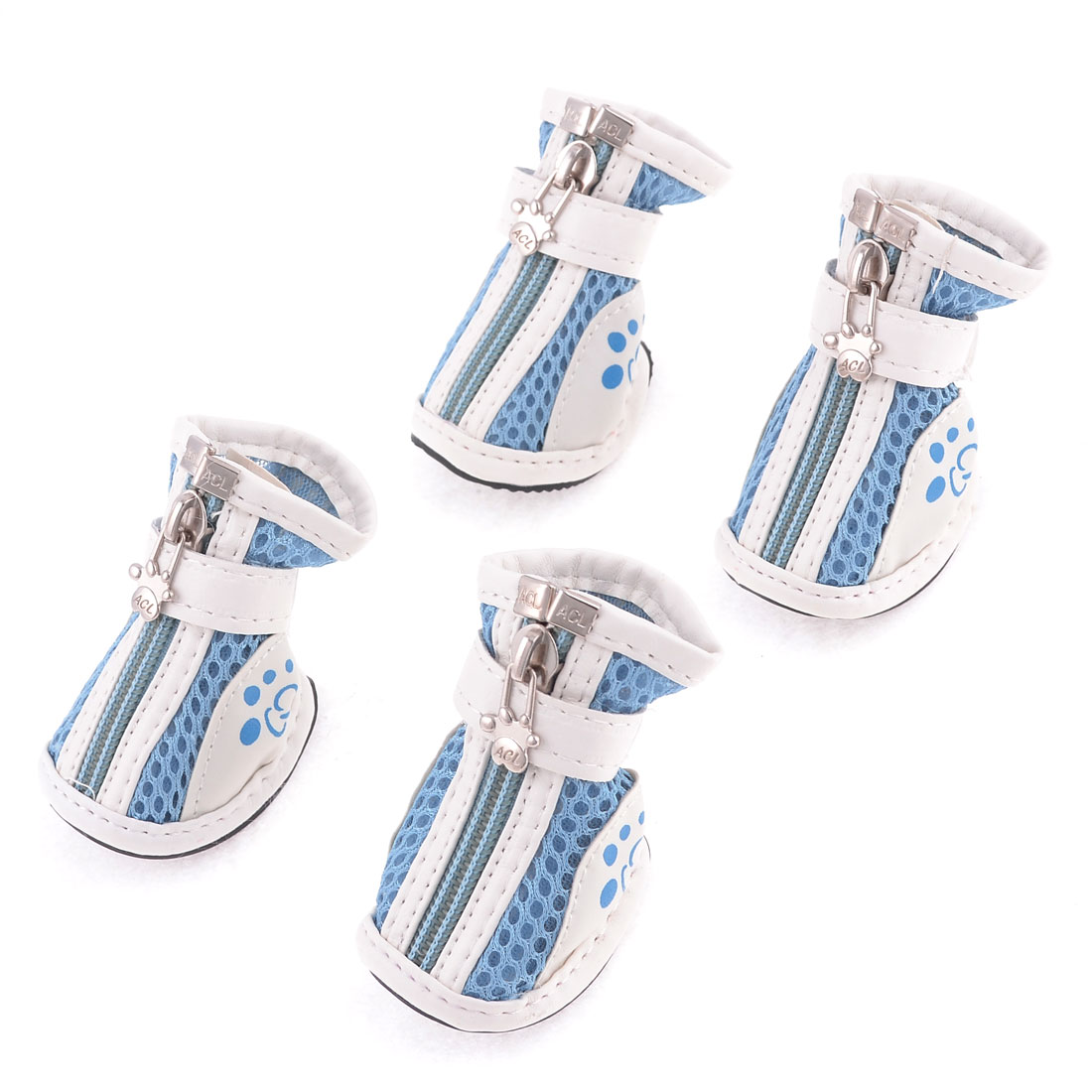 Pet Doggy Yorkie Chihuaha Zipper Closure White Blue Meshy Shoes 2 Pair XXS