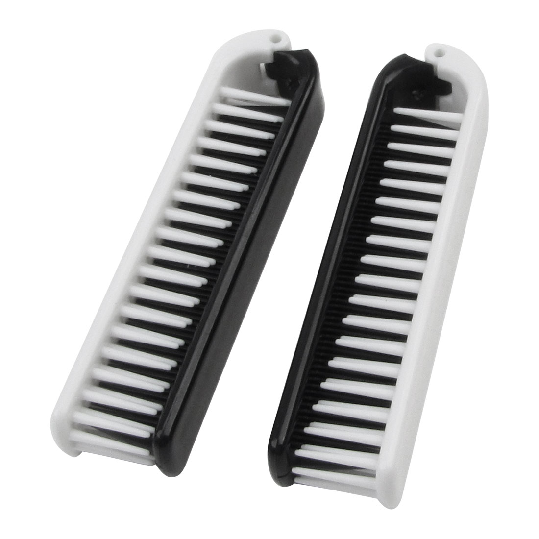 2 Pcs Portable White Black Plastic Dual Ends Foldable Hairdressing Comb