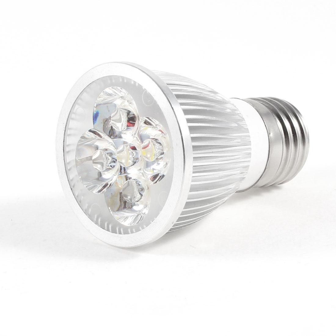 Silver Tone E27 Screw Base 5W 220V 5 LEDs White Light Spotlight Lamp