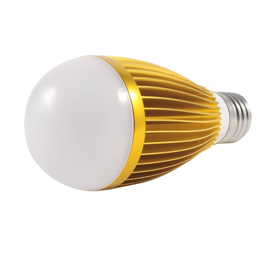 Gold Tone Housing E27 Socket White LED Light Ball Bulb Lamp 7W AC 220V