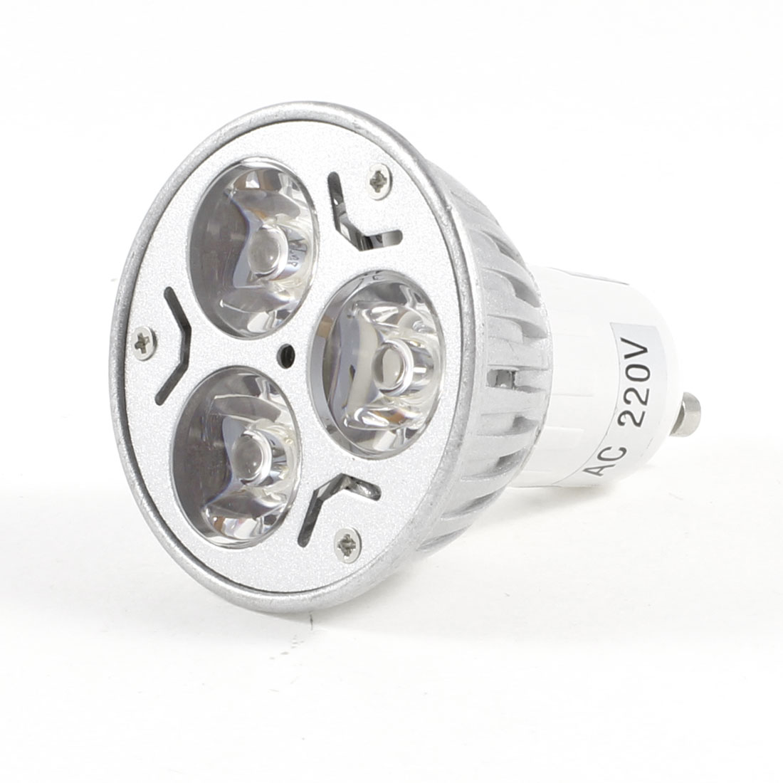 Indoor AC 220V 3W GU10 Socket 3 LEDs White Light Spotlight Bulb Lamp
