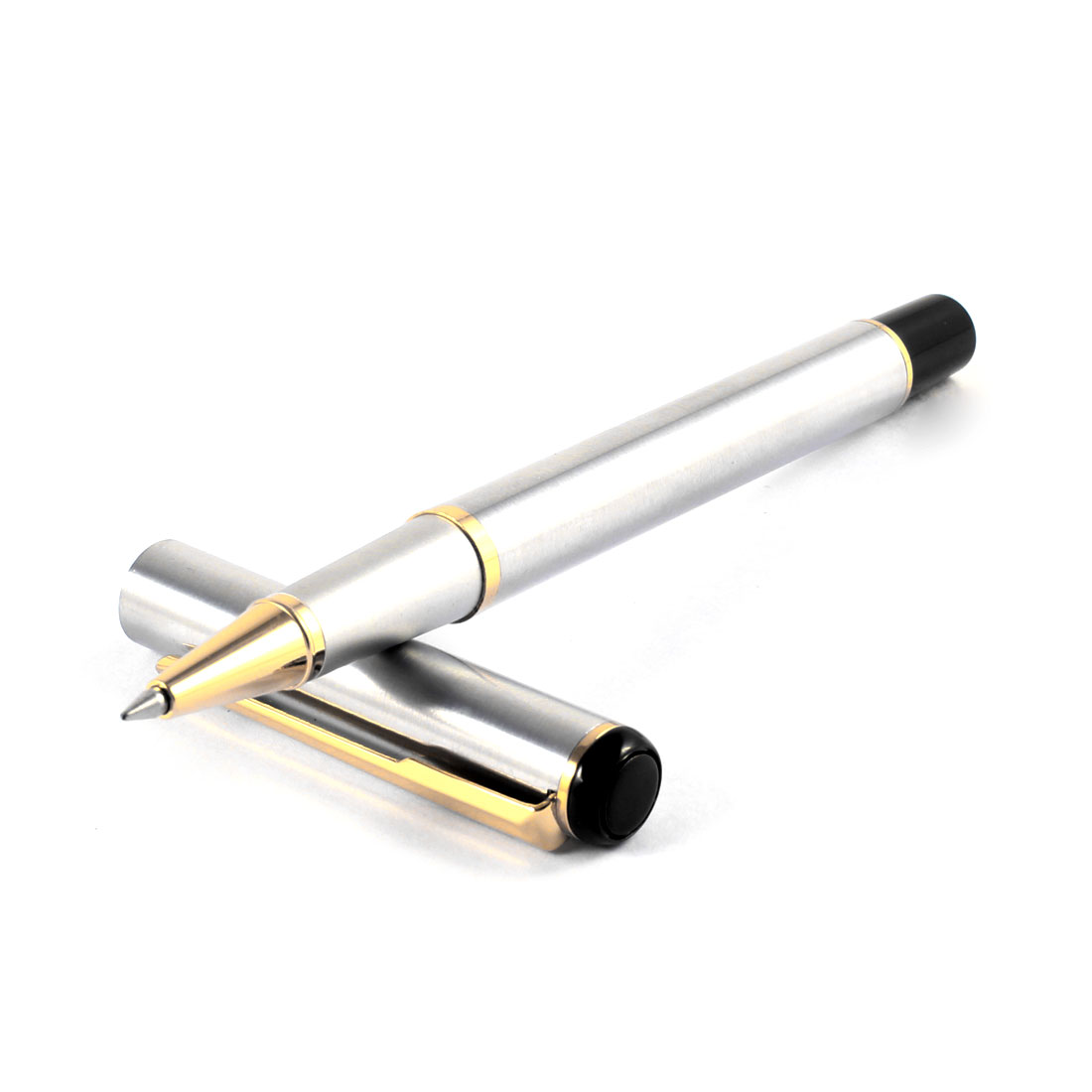 Silver Tone Metal Barrel Clip Design Black Ink 0.6mm Ballpoint Pen Ballpen