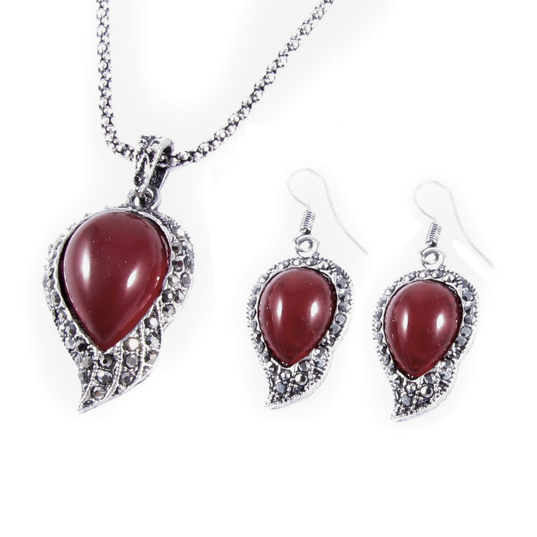 Rhinestone Accent Leaf Shape Pendant Silver Tone Red Chain Necklace Earring Set