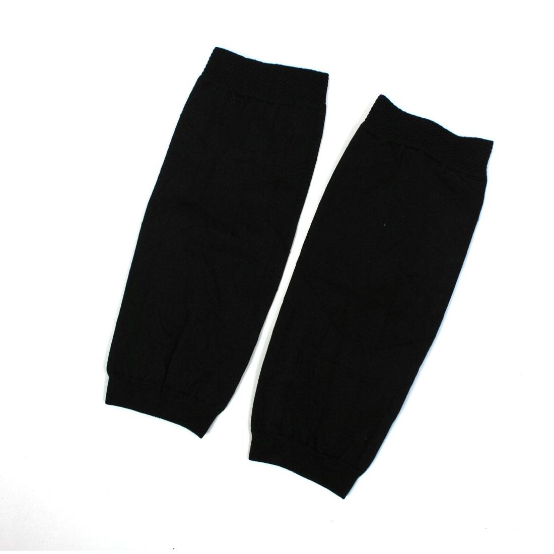 Pair 23.5cm Long Black Spandex Nylon Winter Leg Warmers for Woman