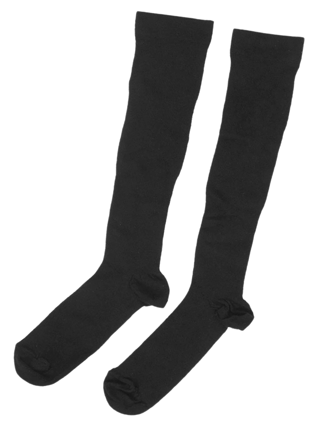 Pair Women Black Elastic Cuff Knee High Warm Leg Slimming Socks Size XS