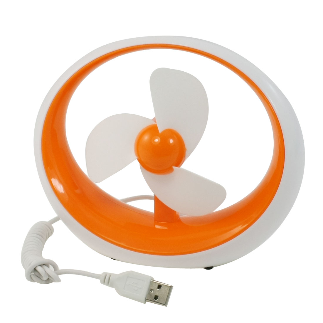Battery Powered Three White Soft Foam Cutte USB Mini Desktop Fan Orange