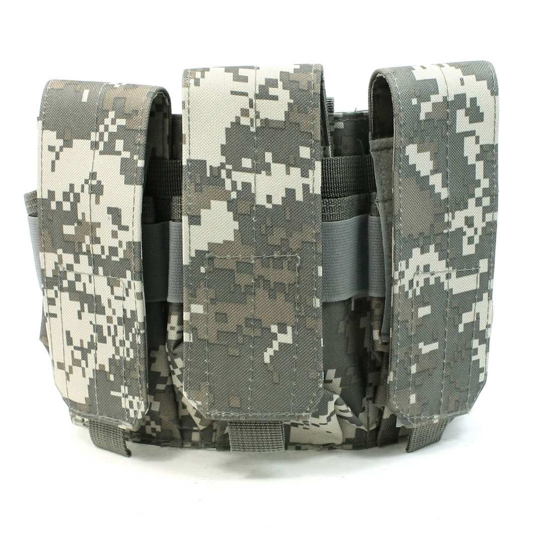 Man Canvas Stud Closure Strap Triple Tactical Cartridge Holder Bag Army Green