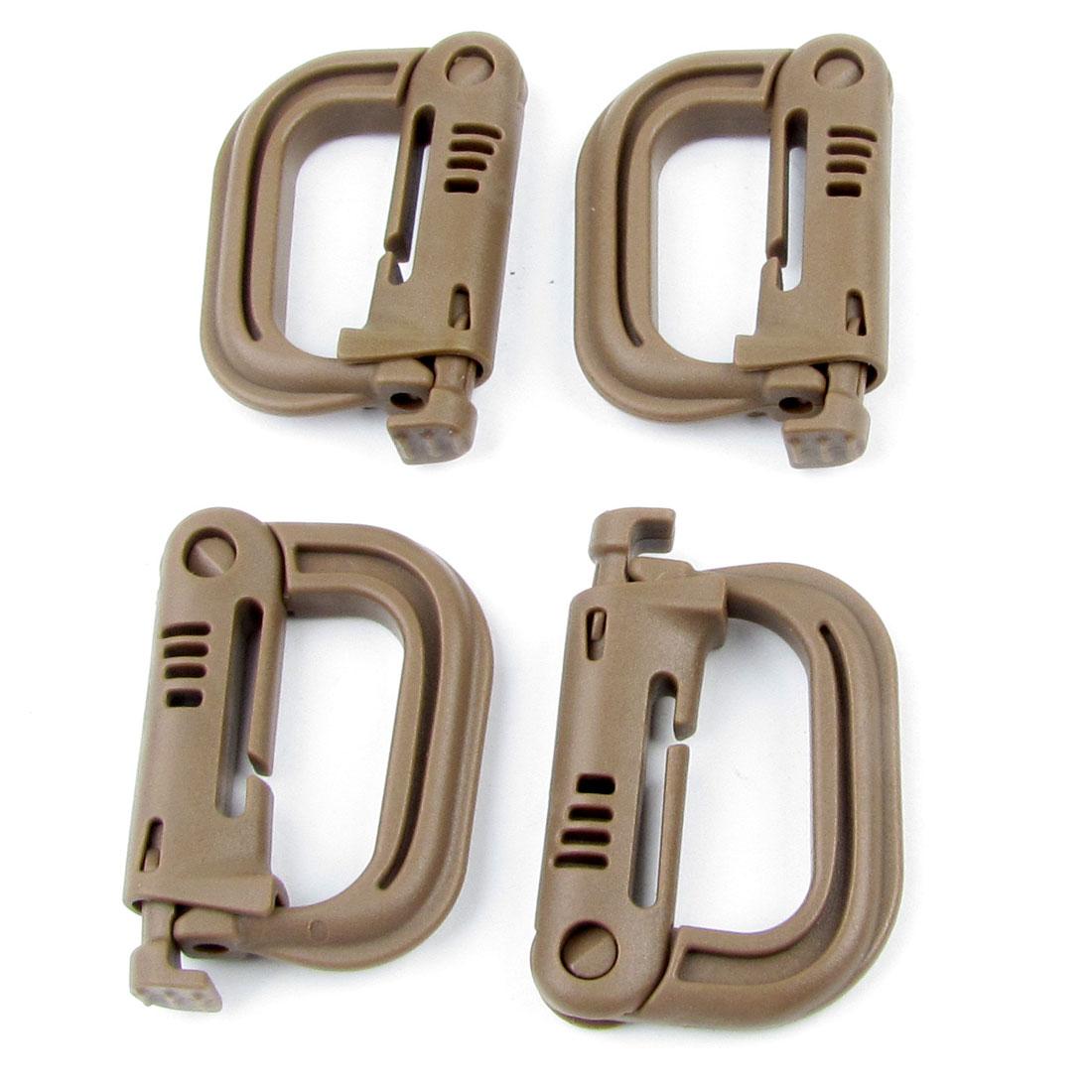 Repair Parts Brown Plastic D Ring Buckle for Backpack Bag 4 Pcs