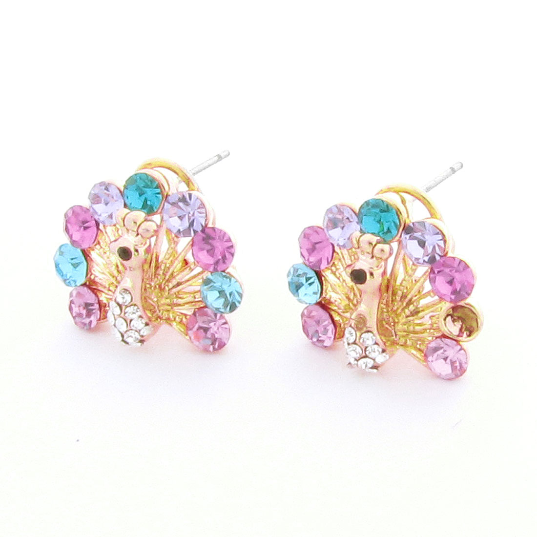 Colorful Rhinestone Decor Peacock Shaped Metal Clip Earrings for Lady