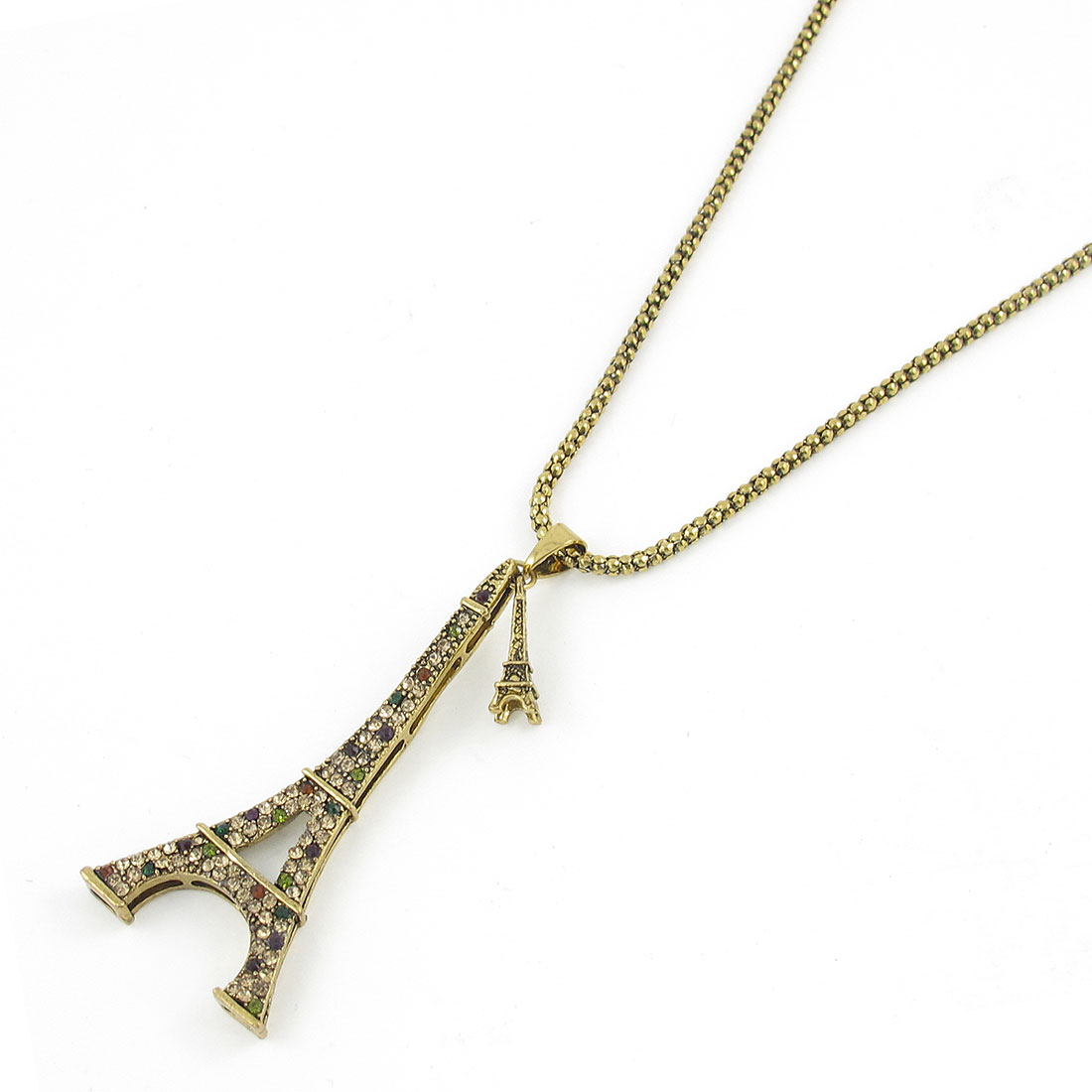 Gold Tone Metal Tower Pendant Necklace Neck Ornament for Women Men