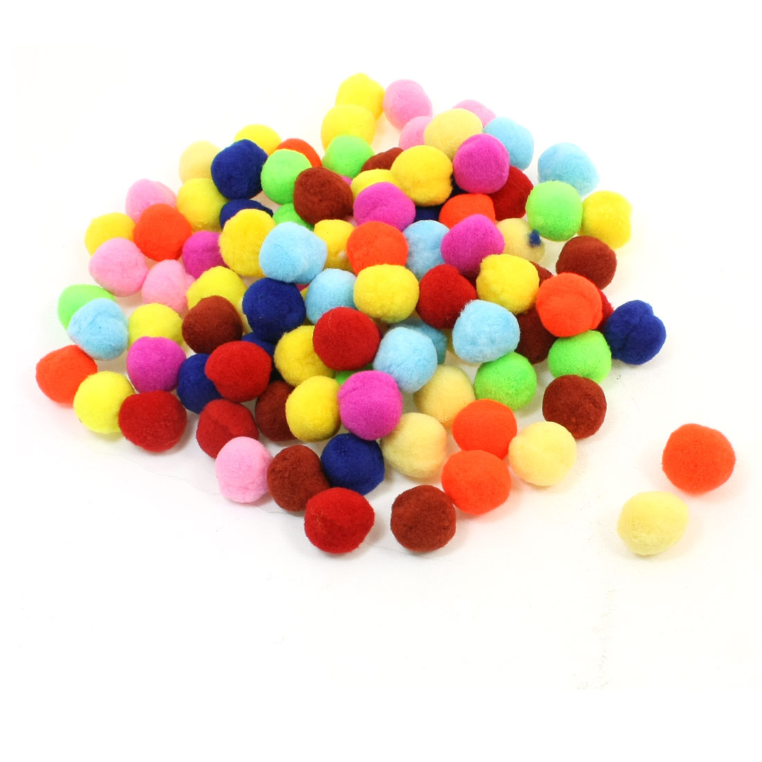 100 Pcs 18mm Diameter Assorted Colors Manmade Plush Pom Pom Ball
