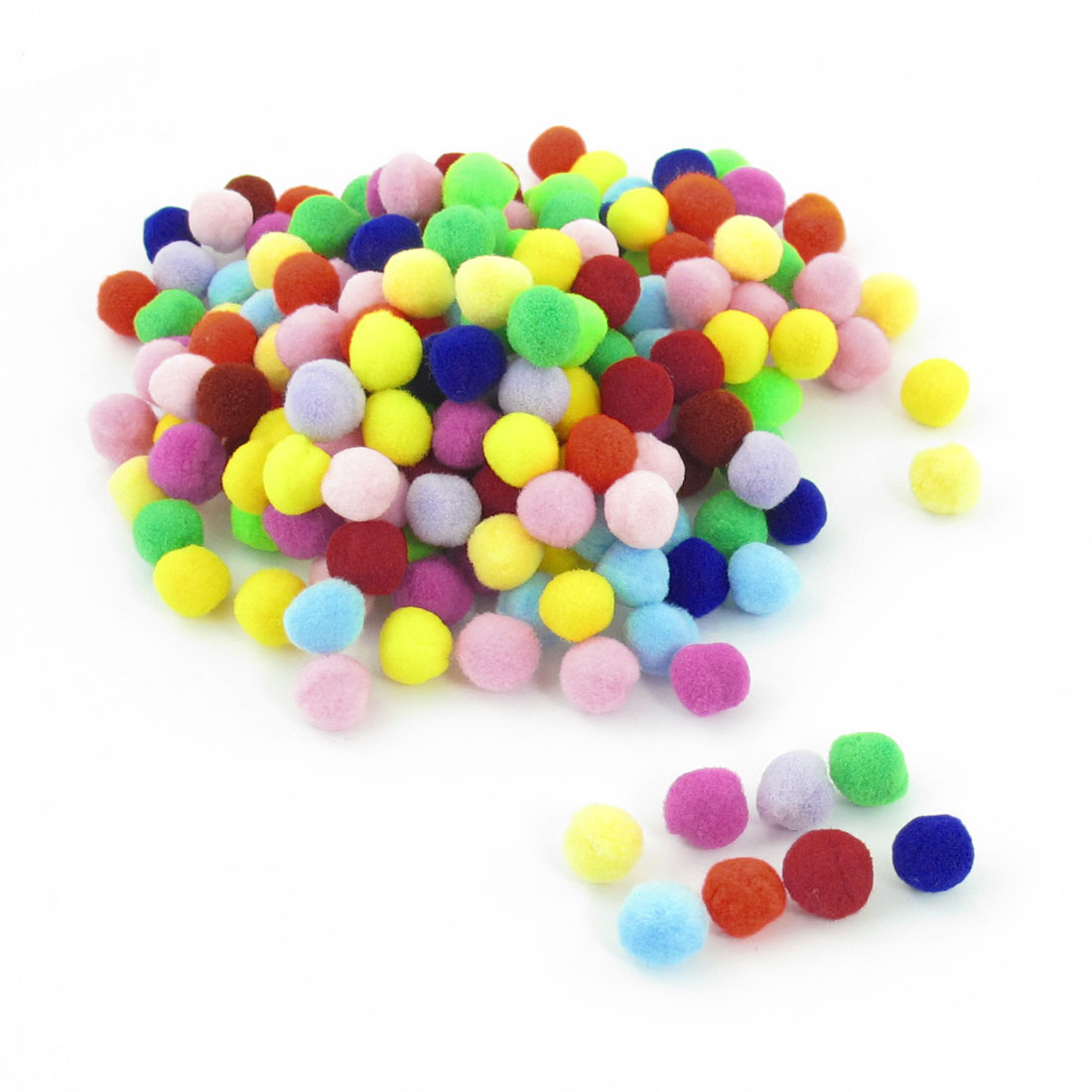 200 Pcs 10mm Dia Plush Colorful Pom Ball Sew On Clothes Trousers Hats Bags