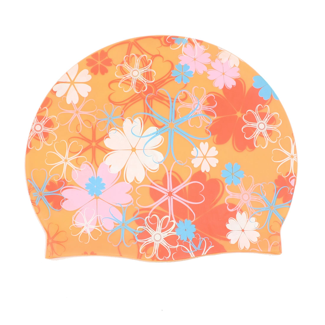 Adult Colorful Floral Pattern Silicone Elasticity Swim Swimming Cap